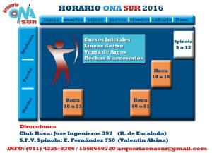 HORARIO ACTUALIZADO ONA SUR 2016